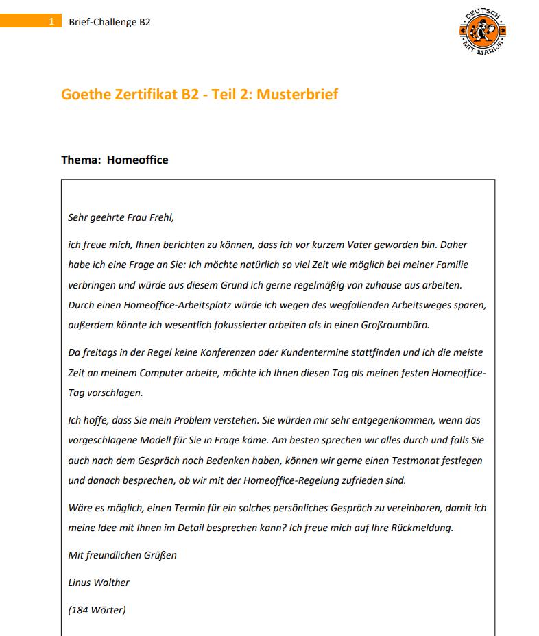 Brief Schreiben Auf Deutsch B2 Deutsch B2 Einen Brief